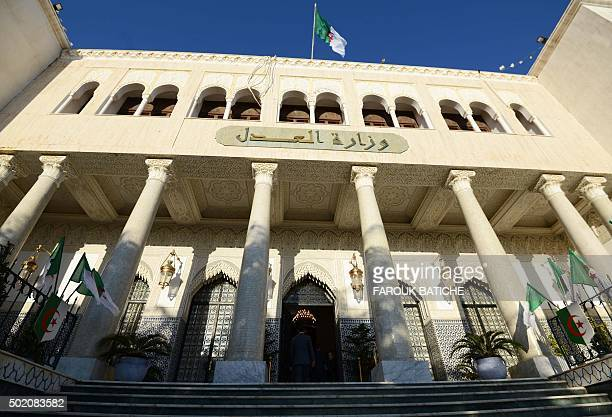 A general view shows the Justice Ministry in the Algerian capital Algiers on December 20 2015 BATICHE