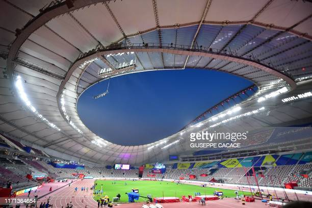 General view shows the Khalifa International Stadium in Doha on September 26 ahead of the IAAF World Athletics Championships.