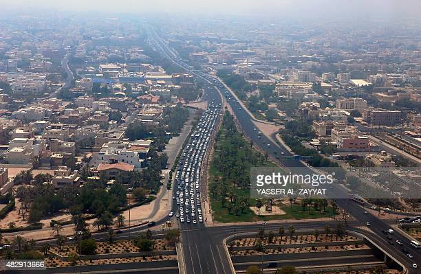 A general view shows the King Faisal Highway one of Kuwait City's main roads on August 4 2015 With summer temperatures soaring many Kuwaiti's have...
