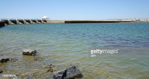 A general view shows the Kokaral Dam on Kazakhstan's Aral Sea on June 19 2008 The Kokaral dam financed by the World Bank was built between 2001 and...