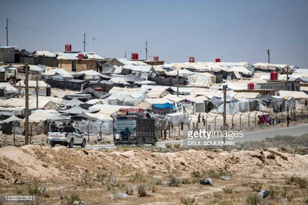 General view shows the Kurdish-run Al-Hol camp, which holds relatives of suspected Islamic State group fighters, in the northeastern Syrian Hasakeh...