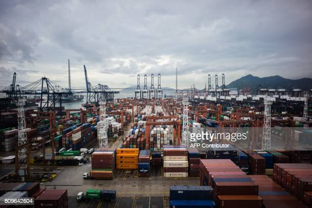 A general view shows the Kwai Chung container port in Hong Kong on July 6 following the city's largest seizure of ivory tusks in the last thirty...