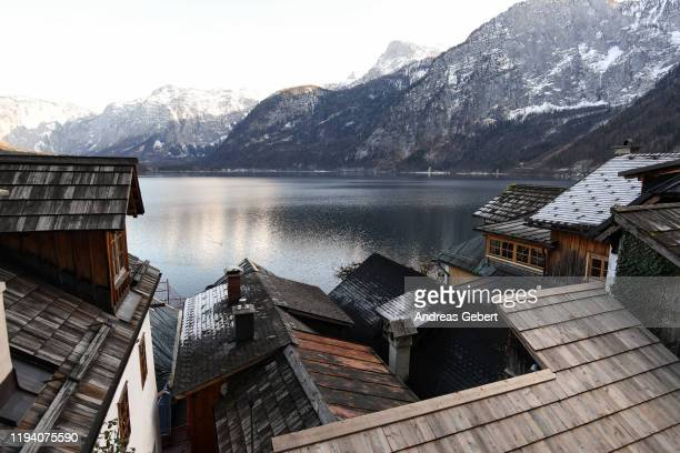 General view shows the lake and the town center on January 16, 2019 in Hallstatt, Austria. Hallstatt, known for its picturesque beauty and its...