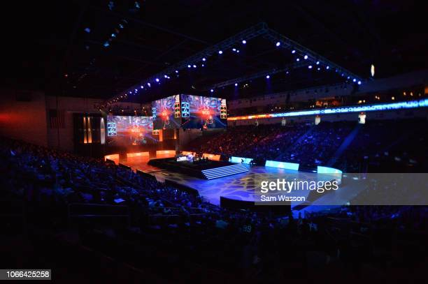 A general view shows the lower bracket finals match of the Rocket League Championship Series World Championship between team Cloud9 and team We Dem...