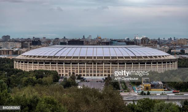 A general view shows the Luzhniki Stadium in Moscow on August 29 2017 Luzhniki Stadium will host seven matches including the final of the 2018 FIFA...
