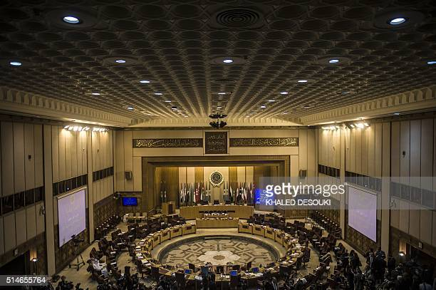 A general view shows the main hall of the Arab League headquarters ahead of a meeting to elect a new secretary general of the Arab League in the...