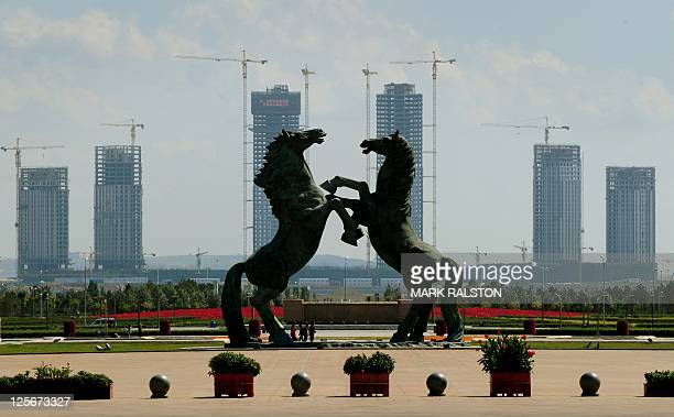 A general view shows the main square in the city centre of Ordos Inner Mongolia on September 12 2011 The city which is commonly referred to as a...
