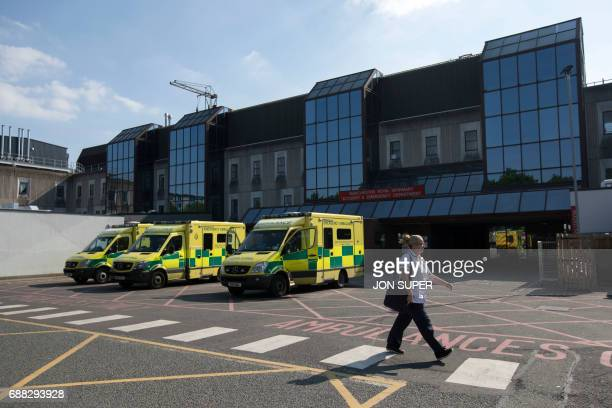A general view shows the Manchester Royal Infirmary Hospital in Manchester northwest England on May 25 2017 where some of the injured victims of the...