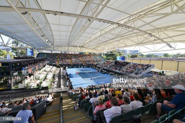 A general view shows the Memorial Drive Tennis Club centre court on day one of the ATP Cup Adelaide International tennis tournament in Adelaide on...