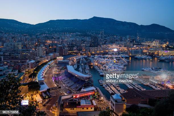 General view shows the Monaco street circuit by night on May 25, 2018 in Monaco, ahead of the Monaco Formula 1 Grand Prix.