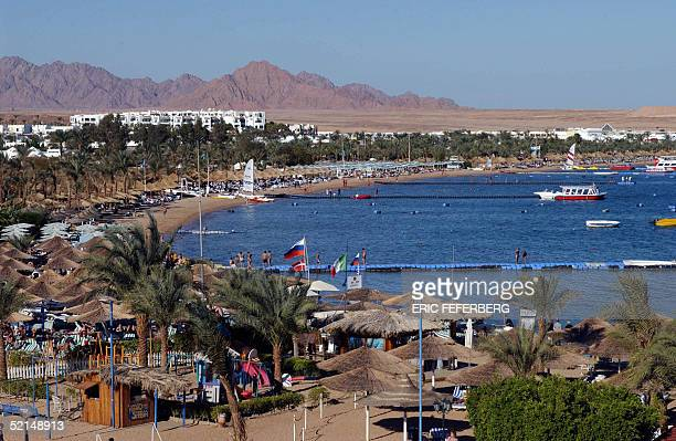 A general view shows the Naama Bay beach 10 January 2004 in the Egyptian Red Sea resort of Sharm elSheikh Israeli Prime Minister Ariel Sharon and new...