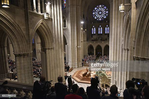 A general view shows the National Prayer Service at the National Cathedral attended by US President Donald Trump on January 21 2017 in Washington DC...