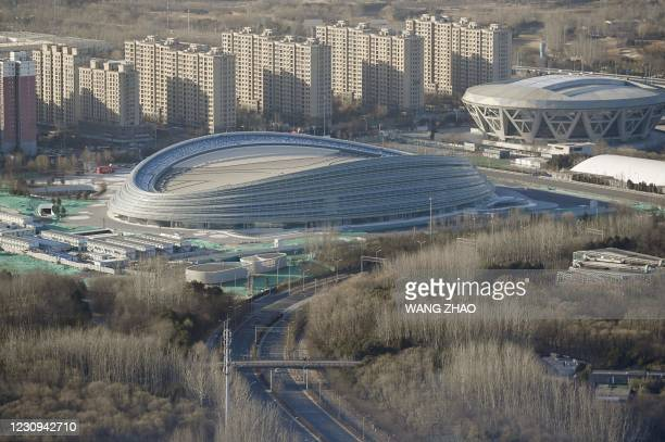 General view shows the National Speed Skating Oval, also known as the 'Ice Ribbon', the venue for speed skating events at the 2022 Winter Olympics,...