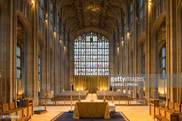 A general view shows the nave in St George's Chapel at Windsor Castle west of London on February 11 2018 where Britain's Prince Harry and US actress...