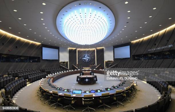 A general view shows the new North Atlantic Council Room where heads of states will meet at the new NATO headquarters during a press tour of the...