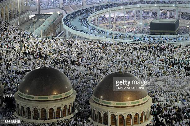 A general view shows the new raised walkway installed around the Kaaba so people with disabilities can circle around the holy shrine as pilgrims...