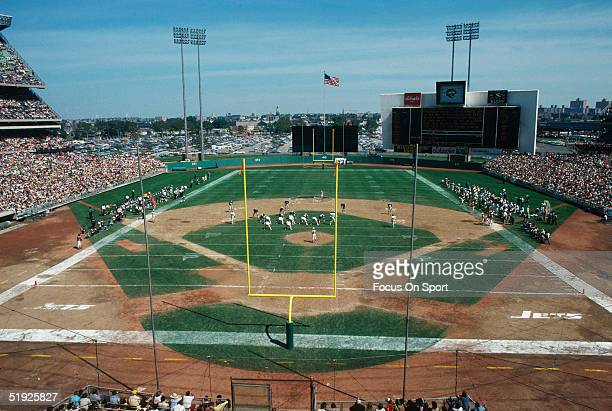 A general view shows the New York Jets playing at Shea Stadium circa 1980 in Flushing New York Shea Stadium has been host to The New York Yankees and...