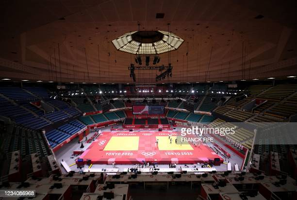 General view shows the Nippon Budokan venue for judo and karate events during the Tokyo 2020 Olympic Games in Tokyo on July 21, 2021.