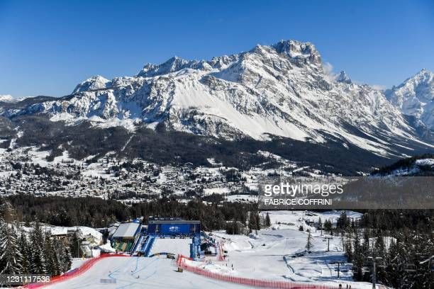 General view shows the Olympia delle Tofane ski slope and the skyline during the Women's Downhill training on February 12, 2021 during the FIS Alpine...