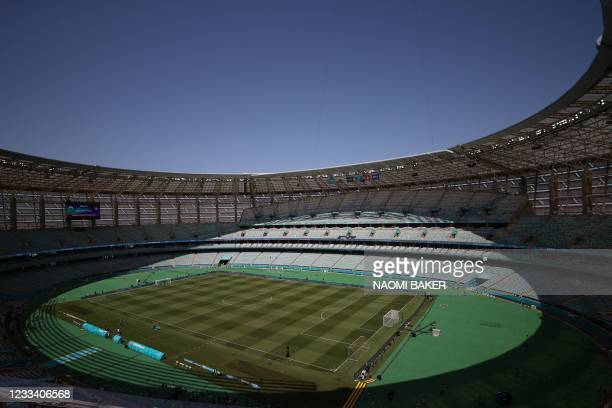 General view shows the Olympic Stadium in Baku ahead of the UEFA EURO 2020 Group A football match between Wales and Switzerland on June 12, 2021.