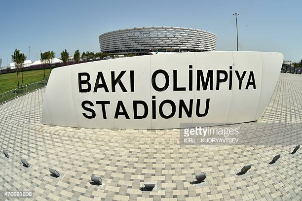 A general view shows the Olympic stadium in Baku on June 11 ahead of the 2015 European Games which will run from June 12 to 28 AFP PHOTO / KIRILL...