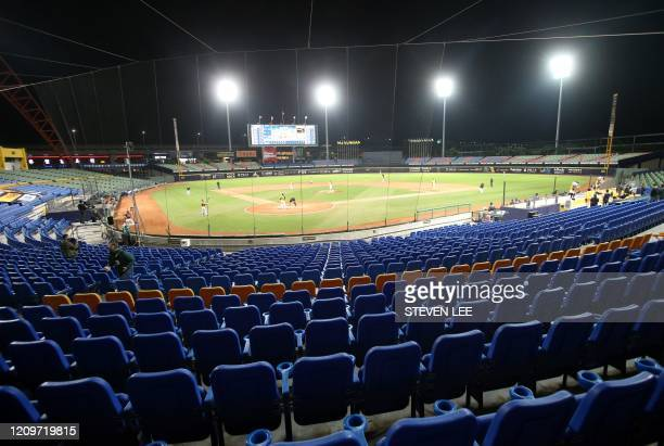 A general view shows the opening match of the Chinese Professional Baseball League at the Taichung International Baseball Stadium on April 12 2020