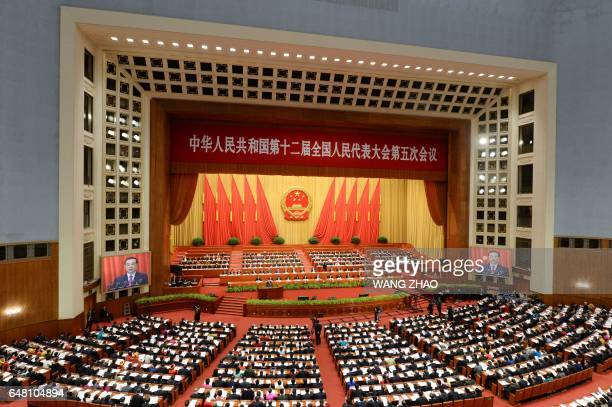 TOPSHOT A general view shows the opening session of the National People's Congress China's legislature in Beijing's Great Hall of the People on March...