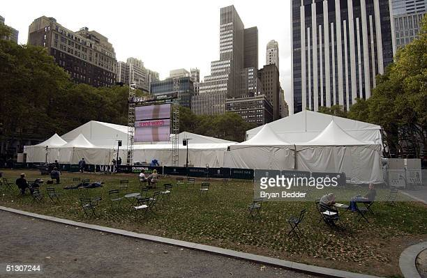 A general view shows the outside of the tent at Olympus Fashion Week Spring 2005 at Bryant Park September 14 2004 in New York City