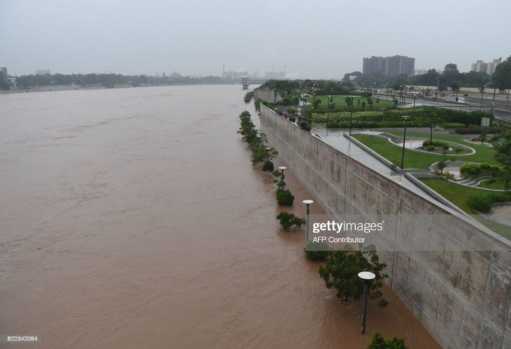A general view shows the overflowing Sabarmati River in
