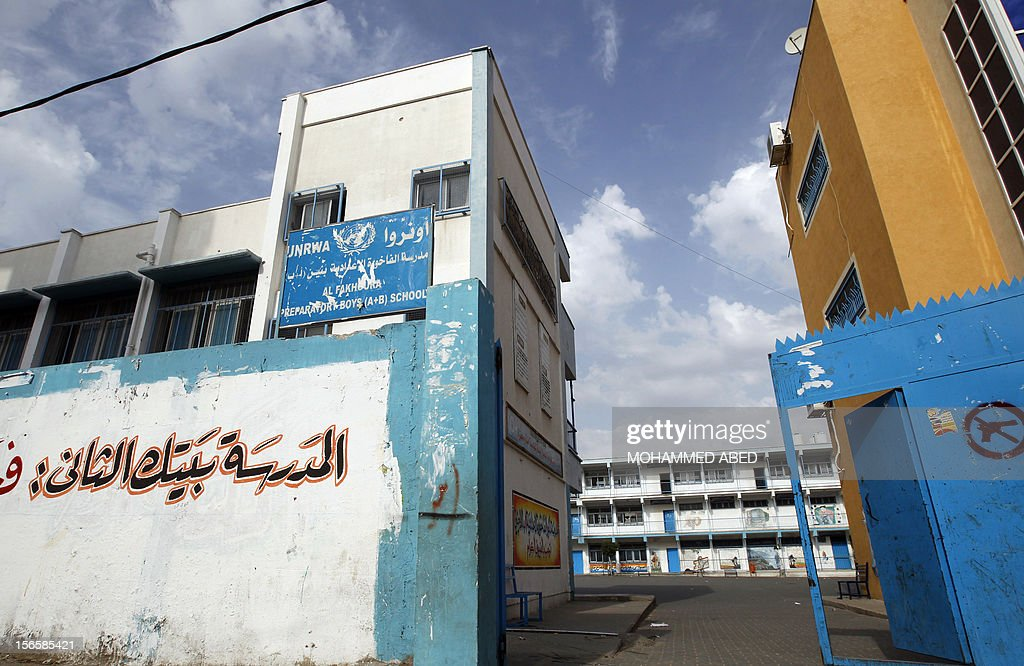 A general view shows the Palestinian UNRWA (United Nations Relief and Works Agency) school in the village of Beit Lahia in the northern Gaza Strip, which closed due to fear of Israeli bombardment o...