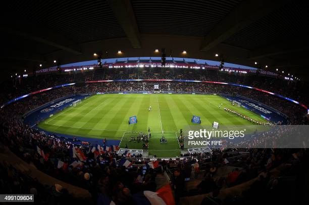 General view shows the Parc des Princes stadium in Paris ahead of the French L1 football match between Paris Saint-Germain vs Troyes on November 28,...