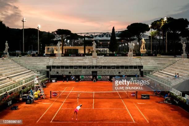 General view shows the Pietrangeli court as Czech Republic's Marketa Vondrousova serves to Ukraine's Elina Svitolina during their quarter final match...