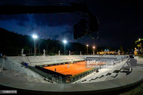 General view shows the Pietrangeli court during the match between Kyle Edmund of Britain and Marco Cecchinato of Italy on day two of the Italian Open...
