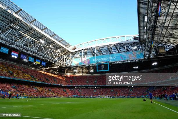 General view shows the pitch ahead of the UEFA EURO 2020 Group C football match between the Netherlands and Ukraine at the Johan Cruyff Arena in...