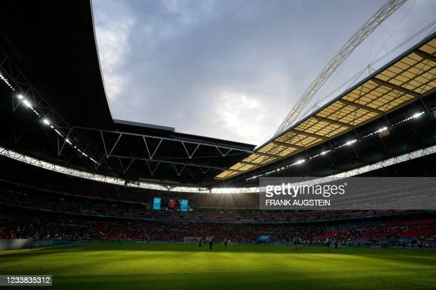 General view shows the pitch ahead of the UEFA EURO 2020 semi-final football match between Italy and Spain at Wembley Stadium in London on July 6,...