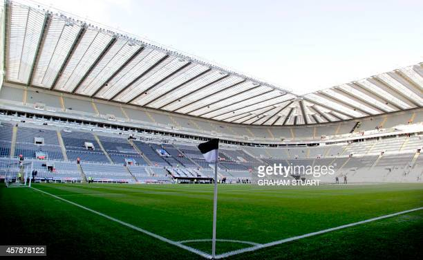 A general view shows the pitch and stands inside of St James' Park the home of English Premier League football team Newcastle United in...