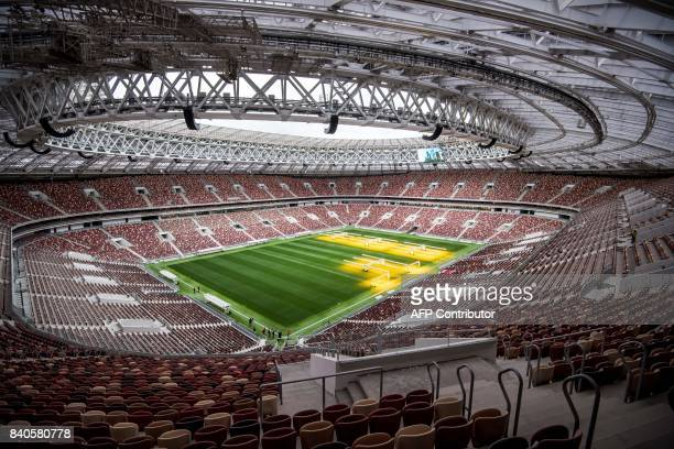 A general view shows the pitch and the tribunes of the Luzhniki Stadium in Moscow on August 29 2017 Luzhniki Stadium will host seven matches...