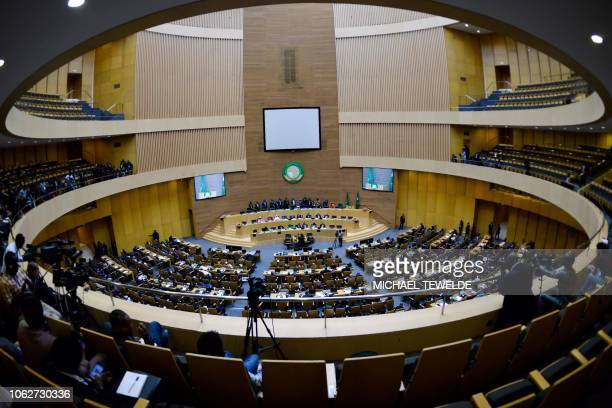 A general view shows the plenary session during the opening ceremonies of the 11th Extraordinary Session of the Assembly of the African Union in...