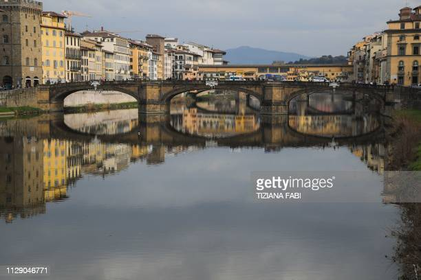 A general view shows the Ponte Vecchio medieval arch bridge over the Arno river on March 7 2019 in Florence Tuscany