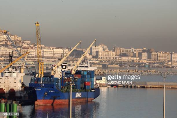 A general view shows the port in Algiers at sunrise on December 6 2017