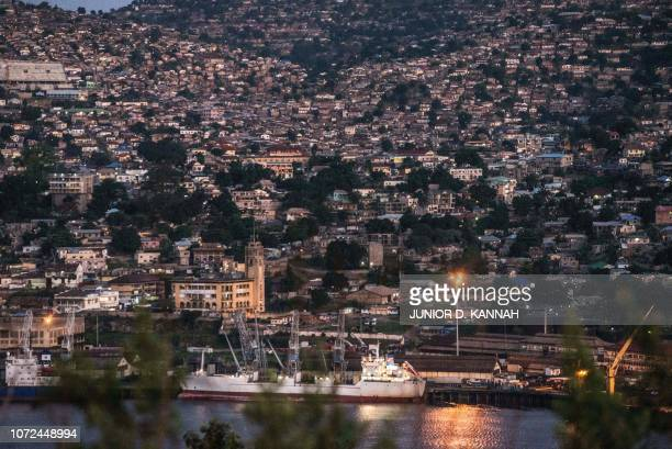 General view shows the port of Matadi, Democratic Republic of the Congo, on November 8, 2018. - From the port of Matadi to the capital Kinshasa, a...