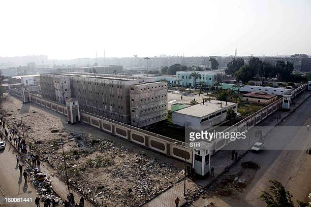 A general view shows the Port Said prison in the Egyptian Suez Canal city on January 25 2013 A court verdict is due on January 26 in the trial of...