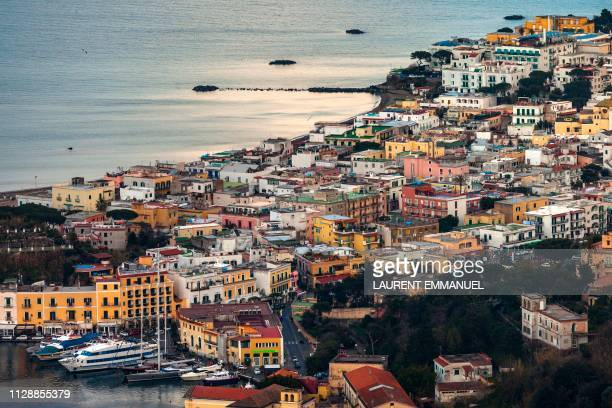 A general view shows the port town on the island of Ischia in the Bay of Naples off Italy's western coast on the Tyrrhenian Sea on March 4 2019