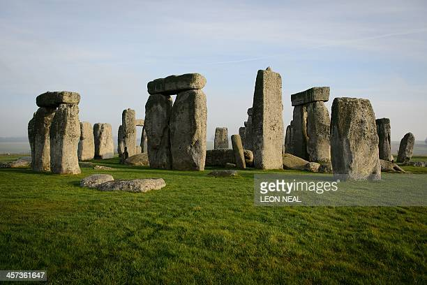 A general view shows the prehistoric monument of Stonehenge a world heritage site near Amesbury in south west England on December 11 2013 The...