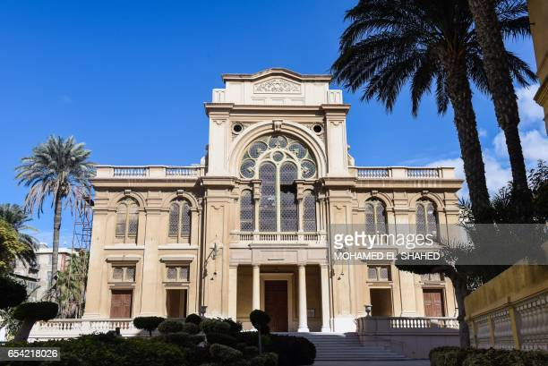 A general view shows the Prophet Eliyahu Hanavi synagogue also known as the Temple of the Eliyahu Hanabi of Alexandria in Nabi Daniel Street in the...