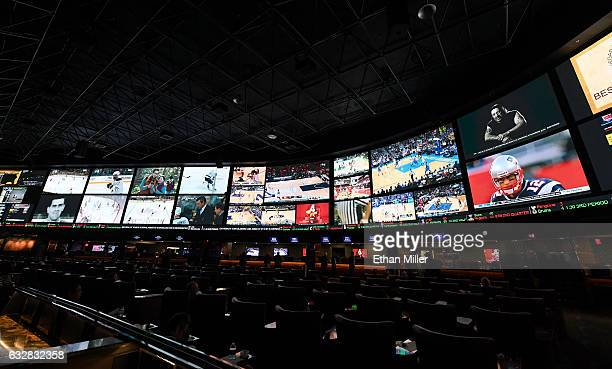 A general view shows the Race Sports SuperBook at the Westgate Las Vegas Resort Casino before 400 proposition bets for Super Bowl LI between the...