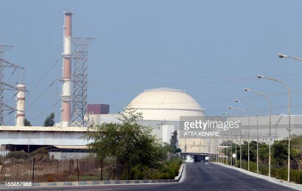 General view shows the reactor building at the Bushehr nuclear power plant in southern Iran, 1200 kms south of Tehran, on August 20, 2010. After...
