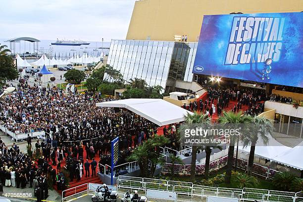 A general view shows the red carpet in front of the festival palace in Cannes where US actor Brad Pitt and his wife Jennifer Aniston arrived to...