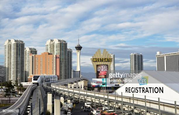 A general view shows the registration tent at the Las Vegas Convention Center for the 2018 Consumer Electronics Show in Las Vegas on January 6 2017...