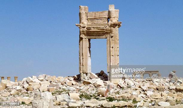 A general view shows the remains of the entrance to the iconic Temple of Bel that was destroyed by Islamic State group jihadists in September 2015 in...